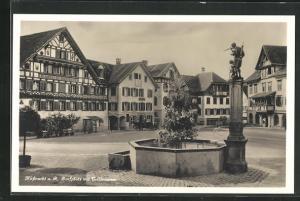 AK Küssnacht a.R., Dorfplatz mit Tellbrunnen