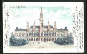 Lithographie Wien, Blick auf das Rathaus