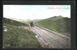 Künstler-AK Isle of Man, Ascending Snaefell, Bergbahn