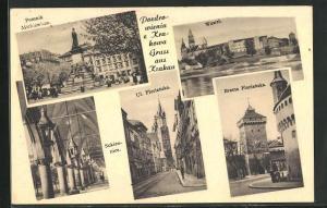 AK Krakau-Krakow, Pomnik Mickiewicza, Sukiennice, Ul. Florianska, Brama Florianska, Wawel