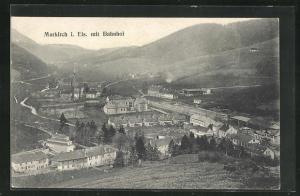 AK Markirch, Panoramablick mit Bahnhof von der Bergwiese gesehen