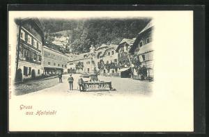 AK Hallstadt, Ortspartie mit Knaben am Brunnen