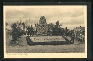 AK Lowitsch, Gedenkstein, Der Krieg 1914-15