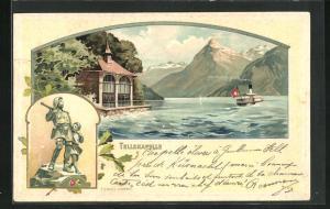 Präge-Lithographie Sisikon, Tellskapelle, Tell-Denkmal