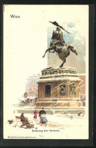 Lithographie Wien, Erzherzog Karl Denkmal