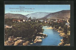 AK Mostar, Blick auf die Narenta von der Römerbrücke