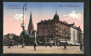 AK Wien, Lazaristenkirche und Garten-Obelisk in der Mariahilferstrasse, Strassenbahn