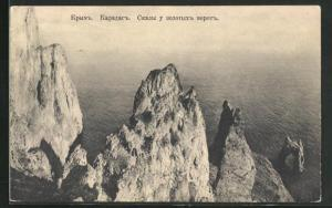 AK Karadag / Krim, Blick vom Felsen auf das Meer