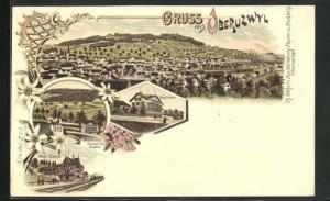 Lithographie Oberuzwyl, Hôtel Uzwyl, Besserungsanstalt für Knaben, Schulhaus