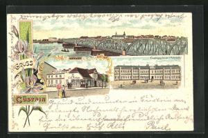 Lithographie Cuestrin / Kostrzyn, Geschäft G. E. Ristau, Empfangsgebäude des Bahnhofs