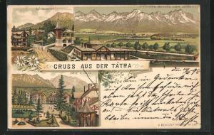 Lithographie Poprad, Panorama mit Central-Karpathen, Alt- und Unter-Schmeks