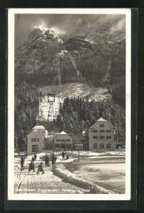 AK Ehrwald, Oesterr. Zugspitzbahn, Talstation u. Hotel