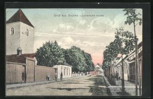 AK Bauske, Strassenpartie an der Lutherischen Kirche