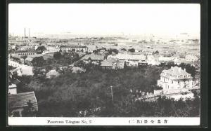 AK Tsingtau, Blick über die Dächer der Stadt zum Hafen