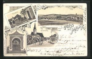 Lithographie Mank, Strassenpartie am Kirchenplatz, Kreuzweg, Maria Lourdeskapelle