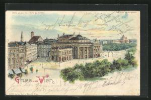 Lithographie Wien, K. K. Hof-Burgtheater, Halt gegen das Licht: Vollmond
