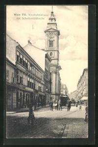 AK Wien, Westbahnstrasse mit Schottenfeldkirche