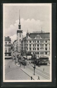 AK Brünn, Strassenbahn in der Kirchengasse, Kino Central