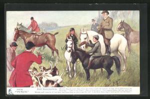 AK Just Indignation, Jäger auf Pferden mit Hunden