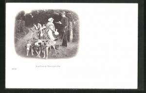 AK Hundegespann, drei Hunde mit Milchkarren, Soldat und Frau, Laitiere flamande