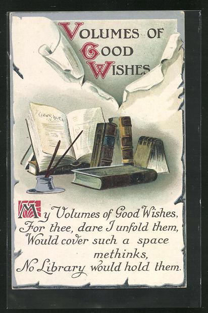 AK Schreibfaul, Tintenfass und Bücher, Volumes of Good Wishes 0