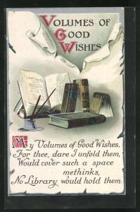 AK Schreibfaul, Tintenfass und Bücher, Volumes of Good Wishes