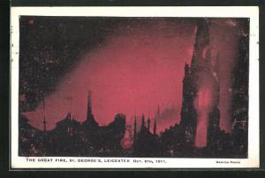 AK Leicester, St. Georges, The Great Fire 1911