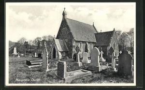 AK Manordilo, Church, Blick auf Gräber, Friedhof und Kirche
