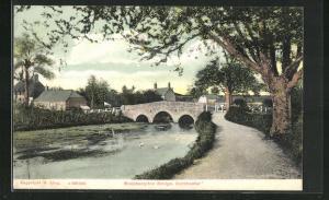 AK Dorchester, Bockhampton Bridge und Uferweg mit Häusern