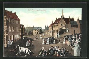 AK Stamford, Bull Running, Menschen rennen vor Stier weg