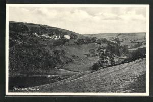 AK Rainow, Thornsett, Blick von Hügel auf Häuser und Landschaft