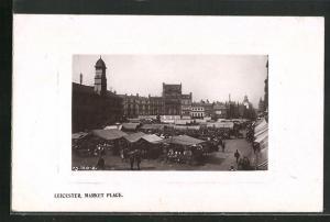 Passepartout-AK Leicester, Market Place, Marktstände
