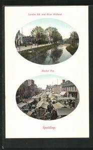Präge-AK Spalding, Market Day, London Road and River Welland