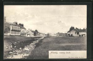 AK Allonby, Ortsansicht am Bach mit Blick nach Süden
