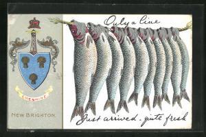 AK New Brighton, Only a line, Trockenfisch, Wappen