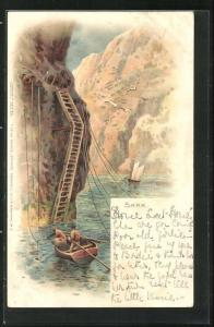 Lithographie Sark, Felsen mit Boot
