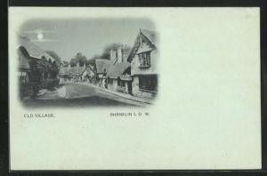 Mondschein-AK Shanklin / Isle of Wight, Old Village