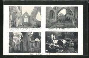 AK Annesley, Church, Kirkby Church, Selby Abbey, all destroyed by fire
