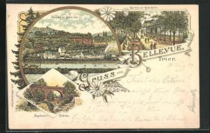 Lithographie Trier, Gasthaus Bellevue, Napoleons Brücke