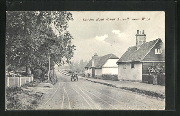 AK Great Amwell, London Road, Häuser an Strasse 0