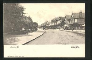 AK Hoylake, Market Street mit Häuserzeile