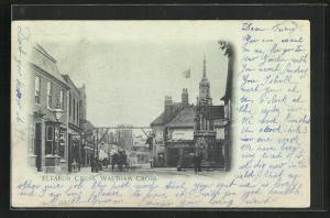 AK Waltham Cross, Eleanor Cross, Häuserfassaden und Kirchturm
