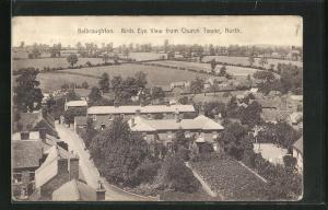 AK Belbroughton, Birds Eye View from Church Tower, North, Blick über Häuser und Felder