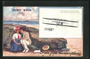 AK Port Erin / Isle of Man, Couple on the beach, The Wright Biplane and The Voisin Biplane Flying