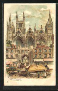 Lithographie Peterborough, Cathedral, Westfront from Market Place