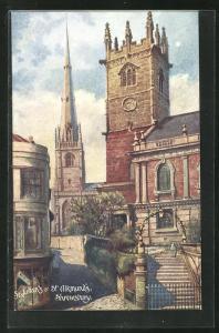 Künstler-AK Shrewsbury, St. Julian`s & St. Alkmund`s