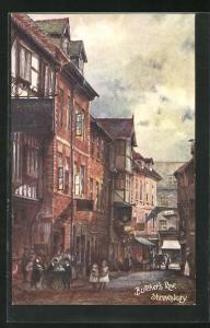 Künstler-AK Shrewsbury, Butcher`s Row, Strassenpartie
