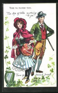 AK Irland, Irisches Paar in Tracht