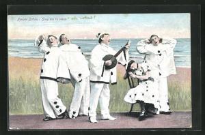 AK Pierrot Ditties: Sing me to sleep, Dame und vier Harlekins mit Laute