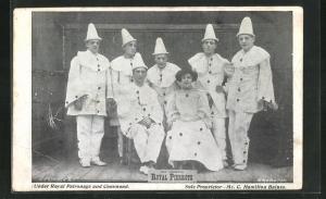 AK The Original Royal Pierrots, Under Royal Patronage and Command, Harlekins mit Dame